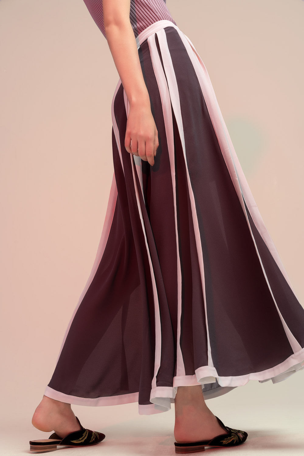 Striped Chiffon Maxi Skirt