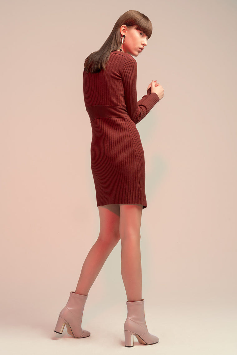 Long Sleeved Wool Blend Dress
