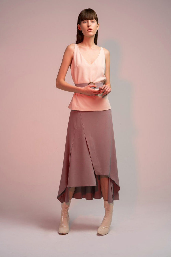 High Low Skirt with Belt in Light Gray