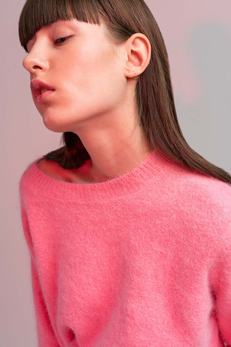 Cropped Stretch-Knit Sweater
