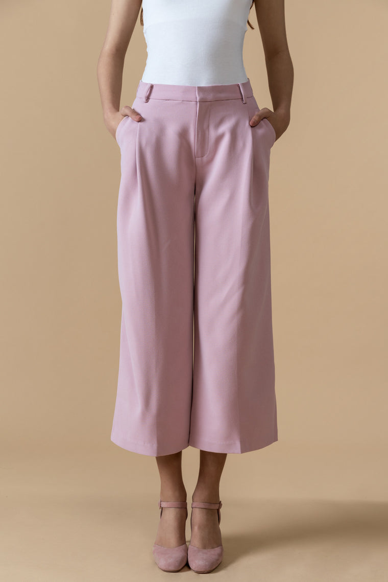 Mid-Rise Wide Leg Crop Pants