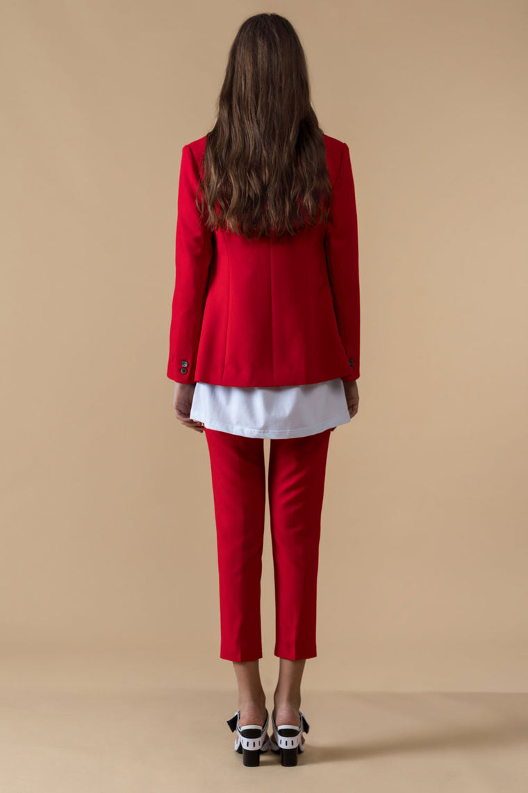 Mid-Low Rise Red Crop Pants