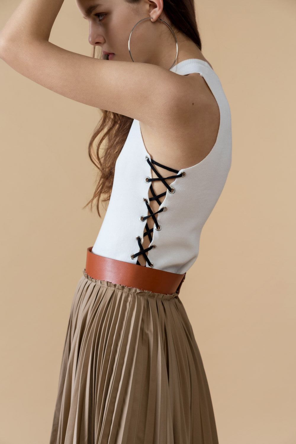 Laced-Up Stretch-Knit Top