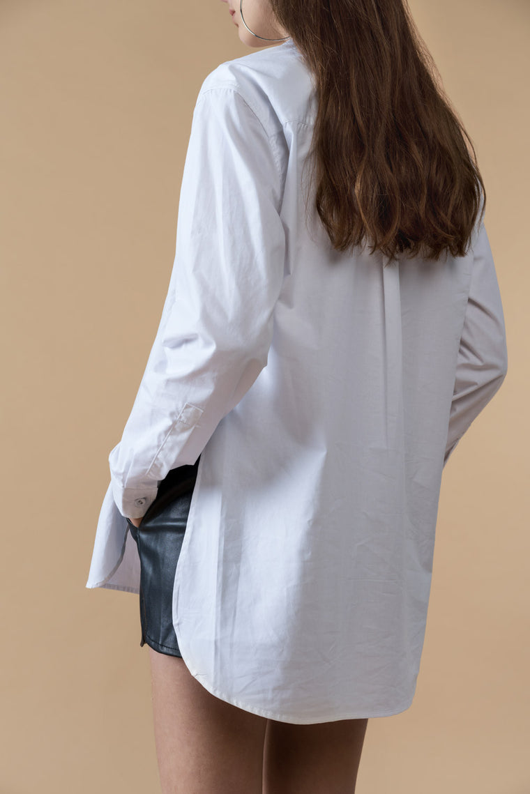 Oversized Button Front Side Slits Shirt