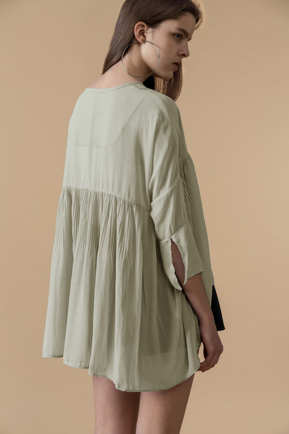 Pleated Sheer Short-Sleeve Blouse