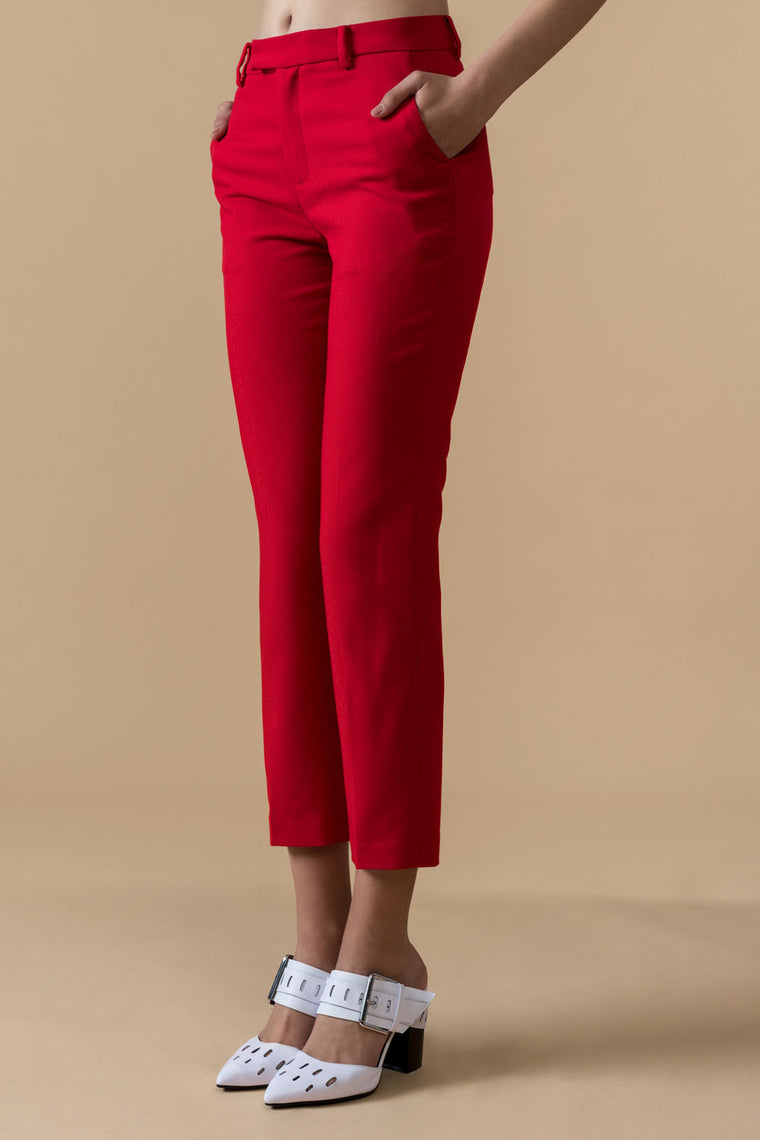 Red Crop Pants