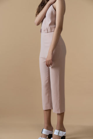 Sleeveless Belted Jumpsuit in Cream