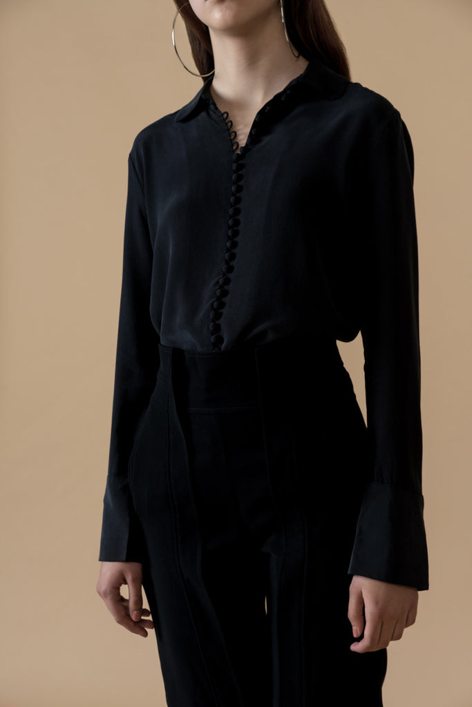Black Silk Button Shirt