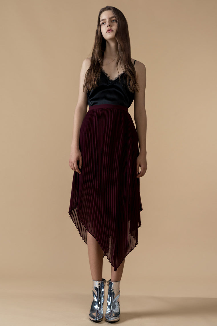 High Low Pleated Midi Skirt