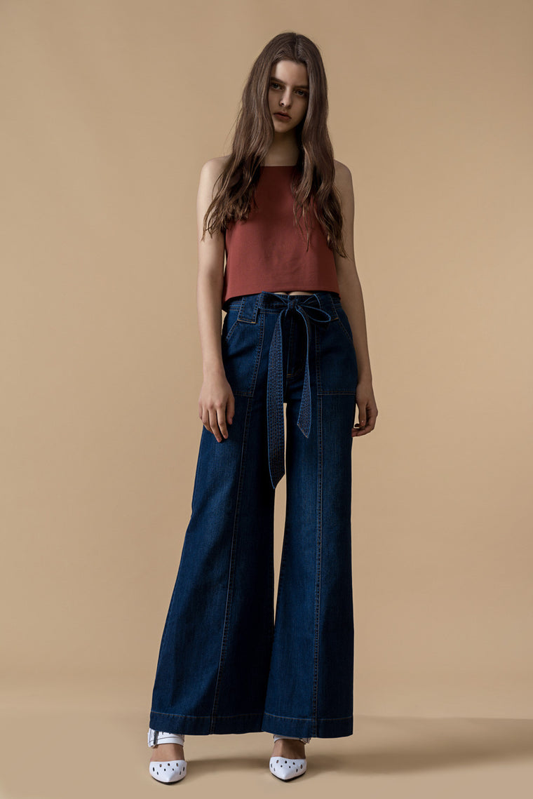 Wide Leg Belted Jeans