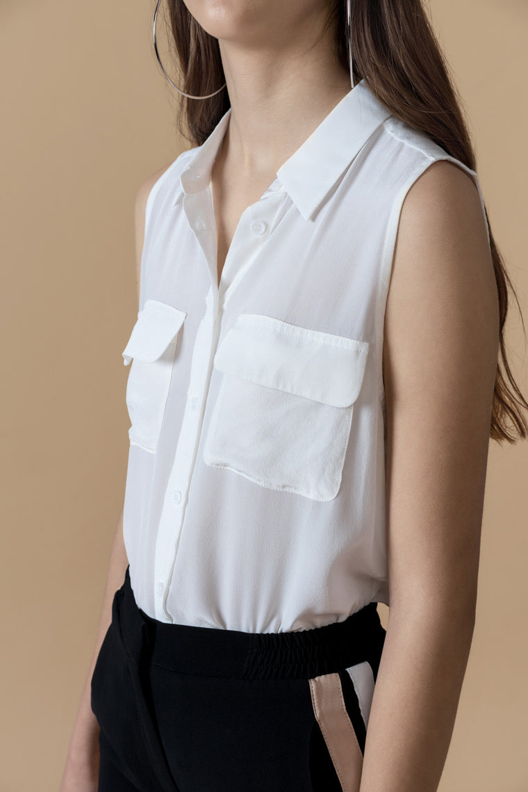 Sleeveless Silk Button Front Top