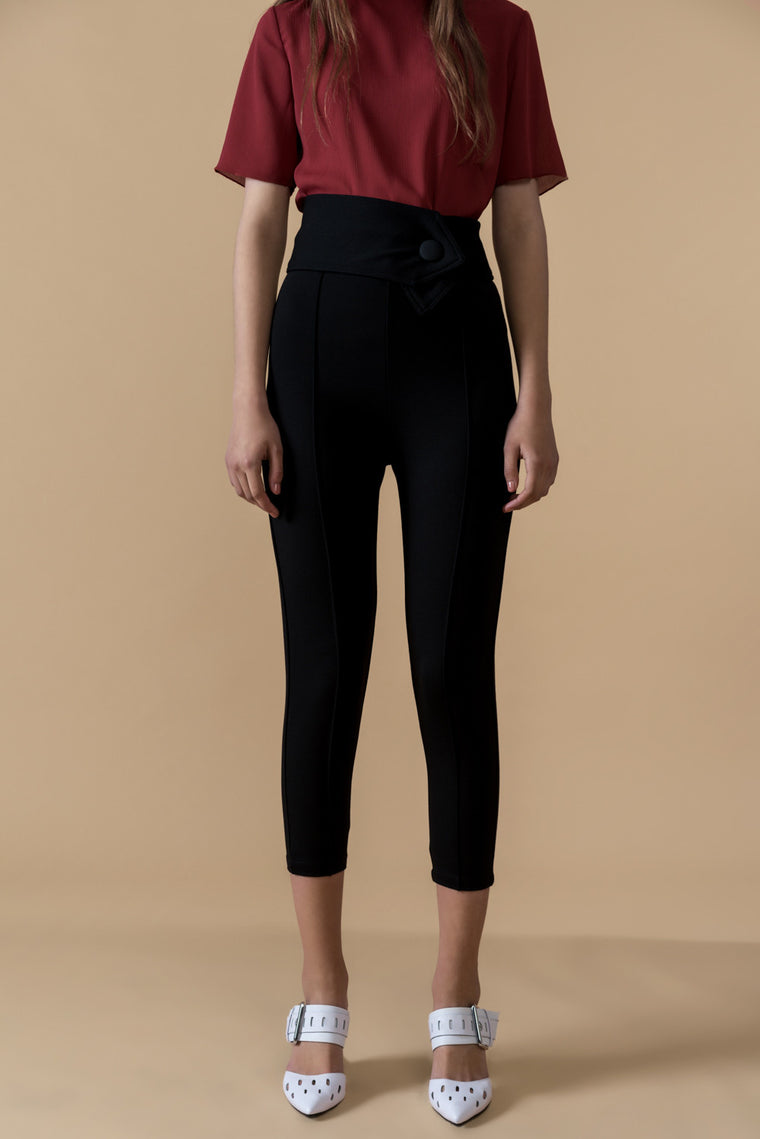 Stretch High Rise Crop Pants