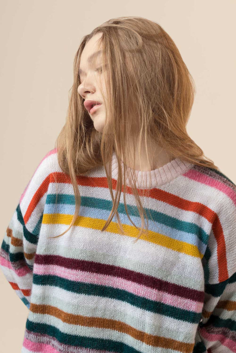 Oversized Striped Mohair Sweater