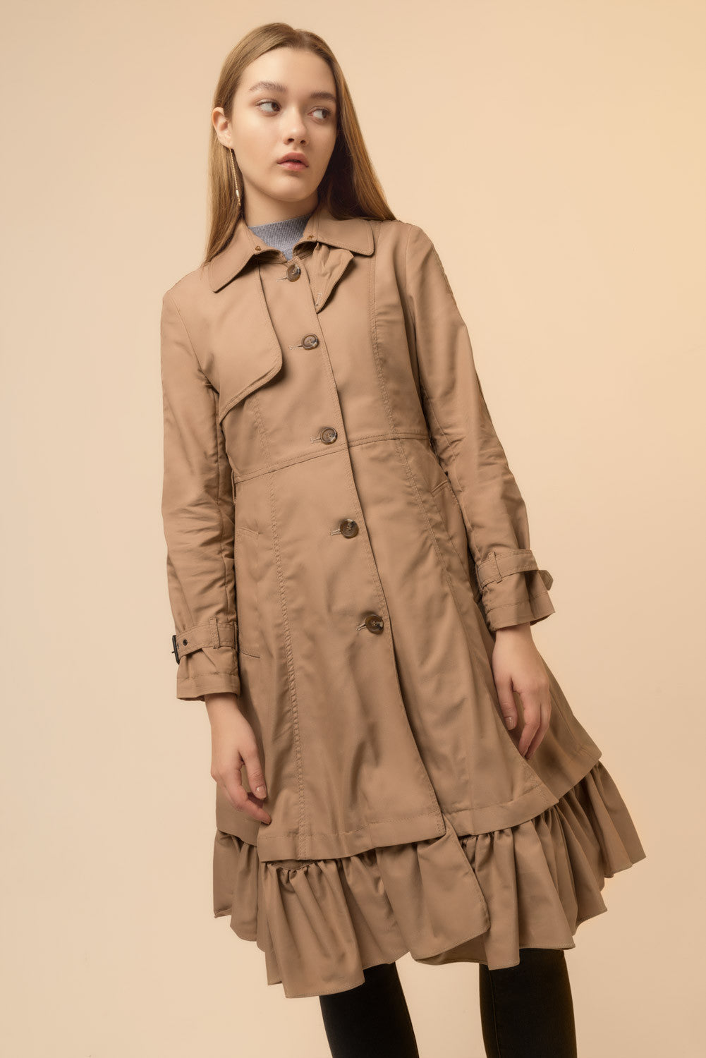 Trench Coat with Ruffle Trim