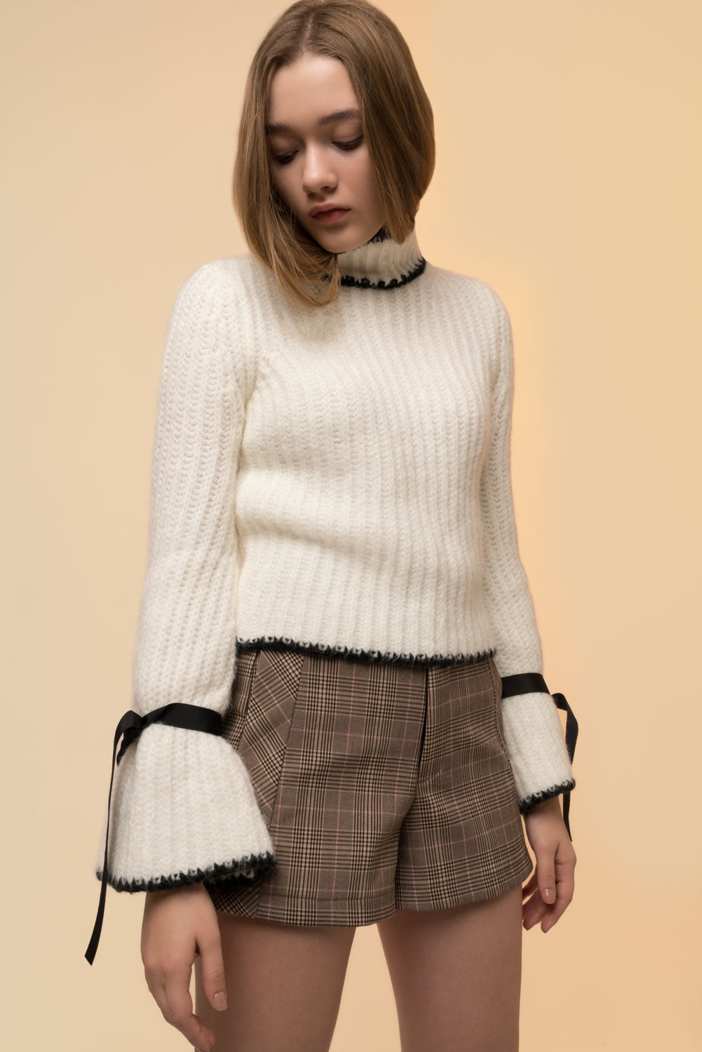 Bell-Sleeved Tie Sweater