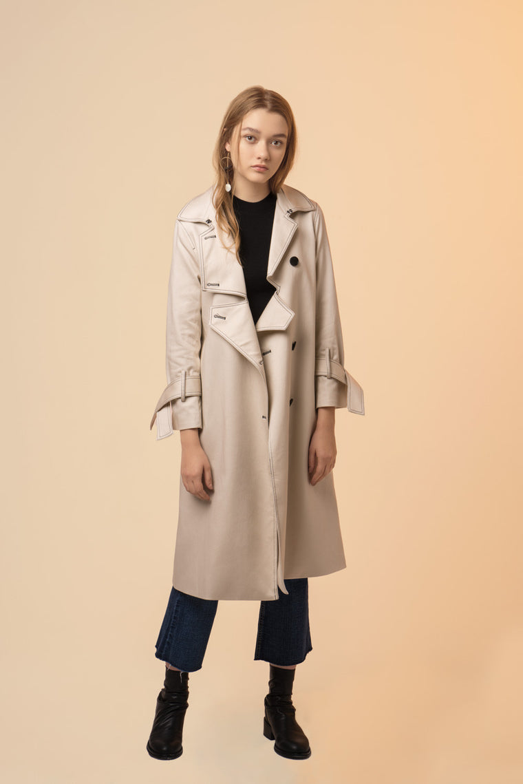 Button Down Single Breasted Trench Coat