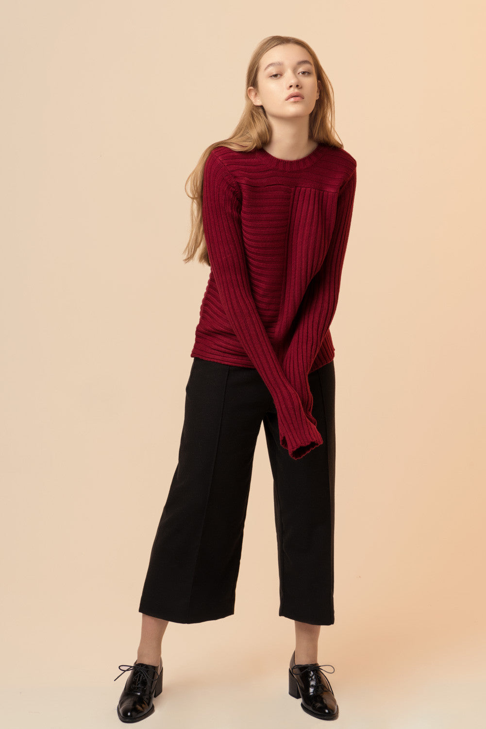 Long Sleeved Crop Red Sweater
