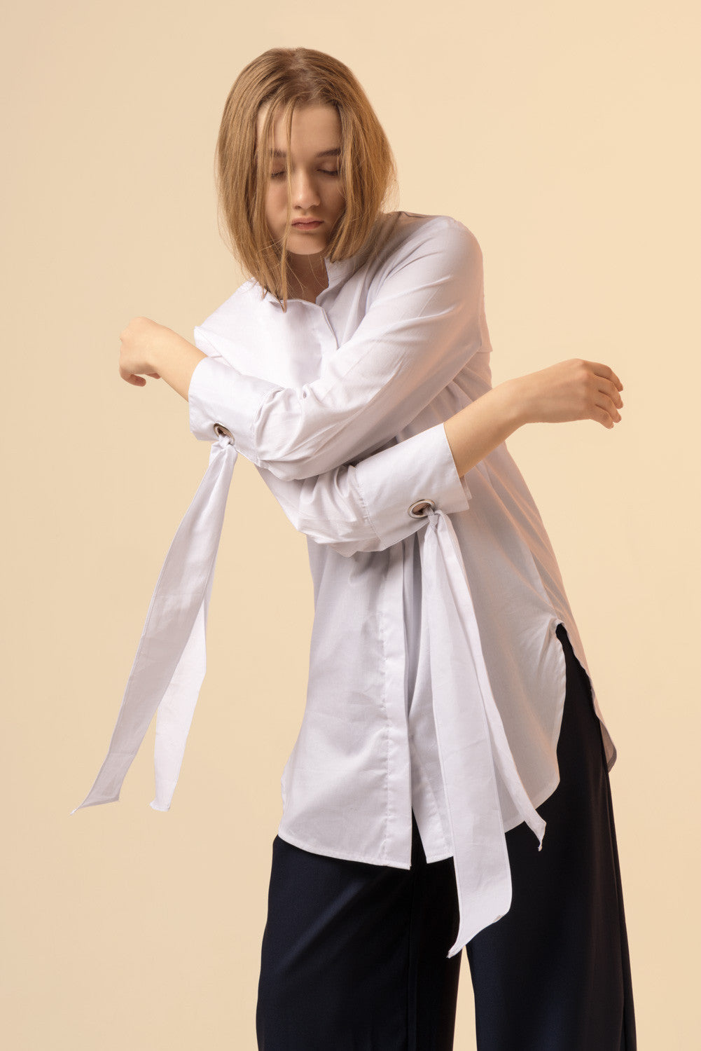 Bow Tie Sleeved White Blouse
