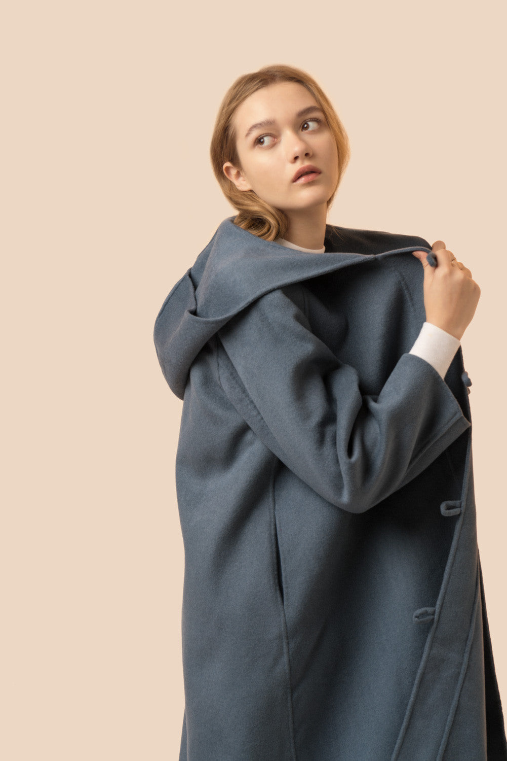 Hooded Horn Button Coat