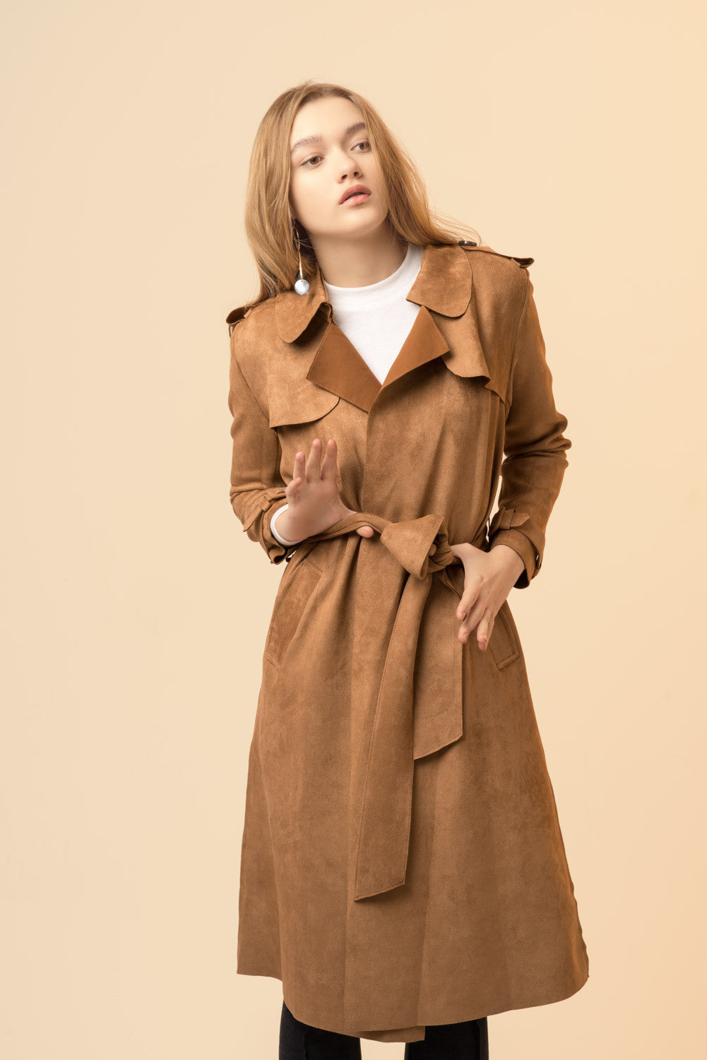 Faux Suede Wrap Coat