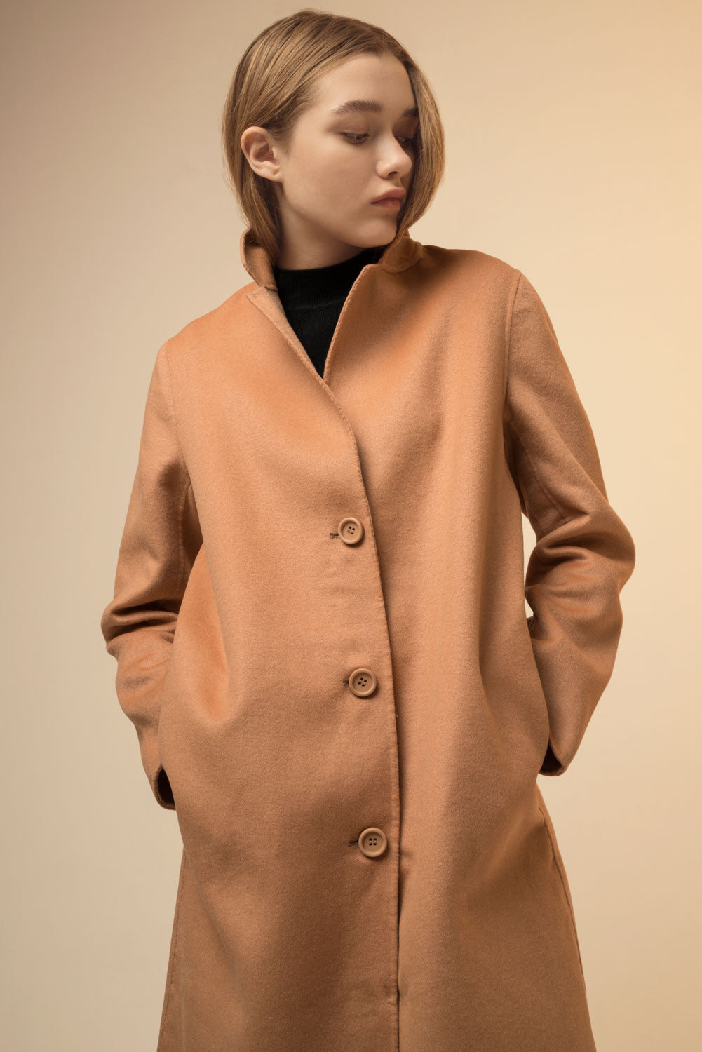 Solid Thin Cocoon Wool Coat