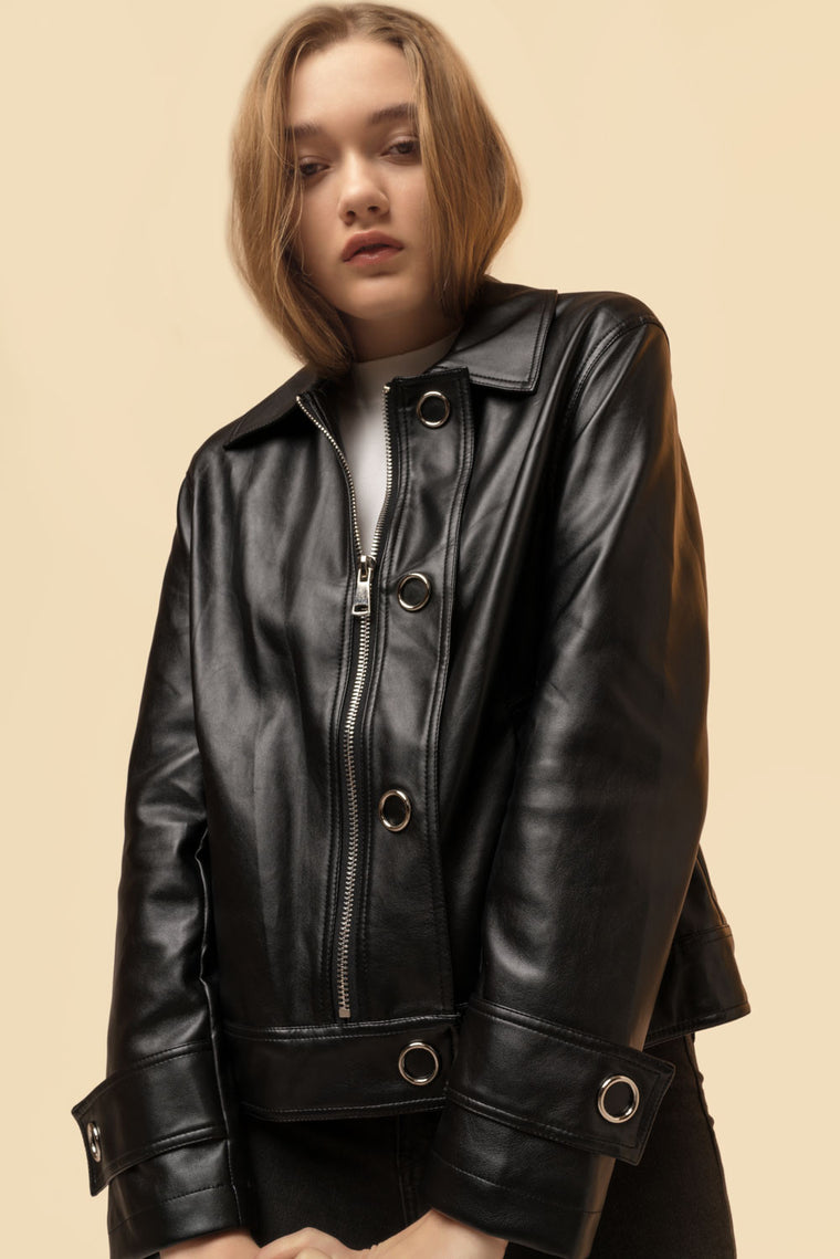 Oversized Crop Faux Leather Jacket