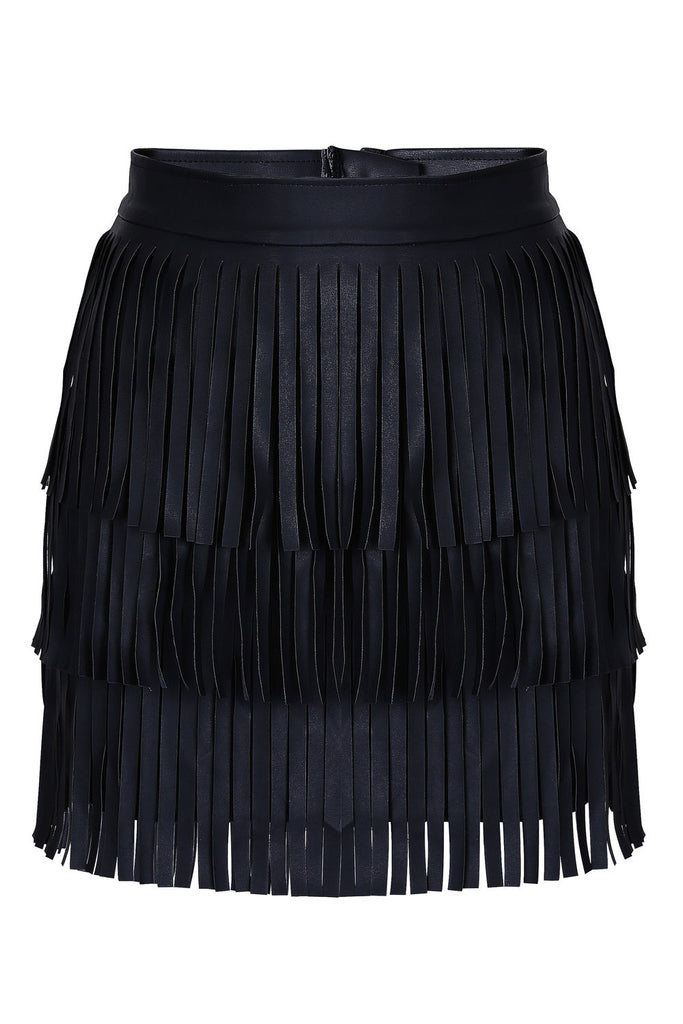 Black Faux Leather Fringed Mini Skirt