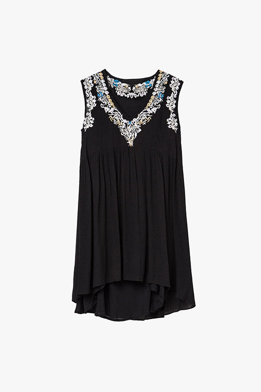 Black Embroidered V Neck Mini Dress