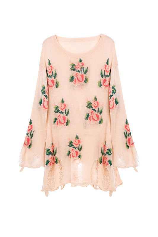 Pink Floral Oversized Rip Sweater