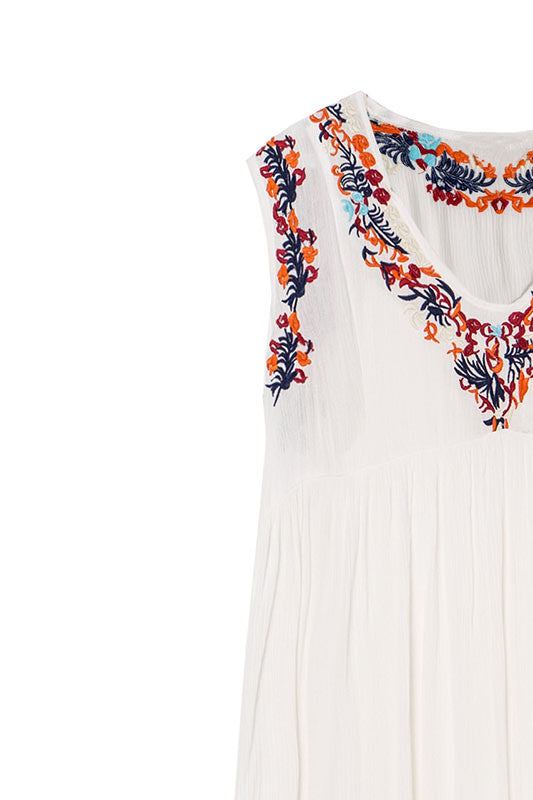 Embroidered V Neck Tunic Dress