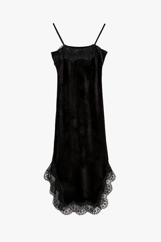 Velvet and Lace Slip On Midi Dress