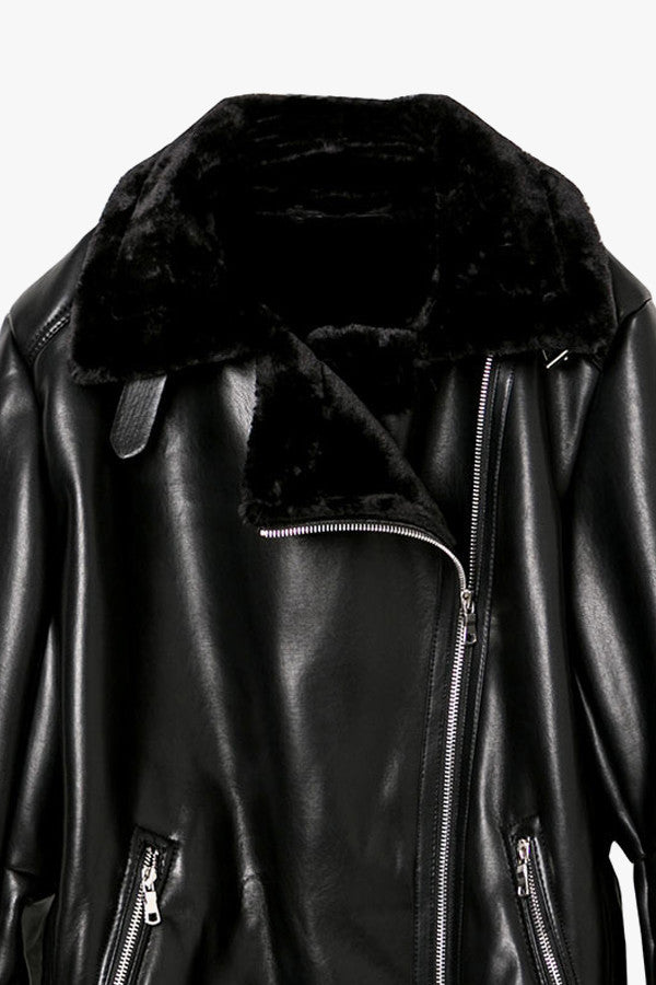 Black Faux Leather Oversized Moto Jacket