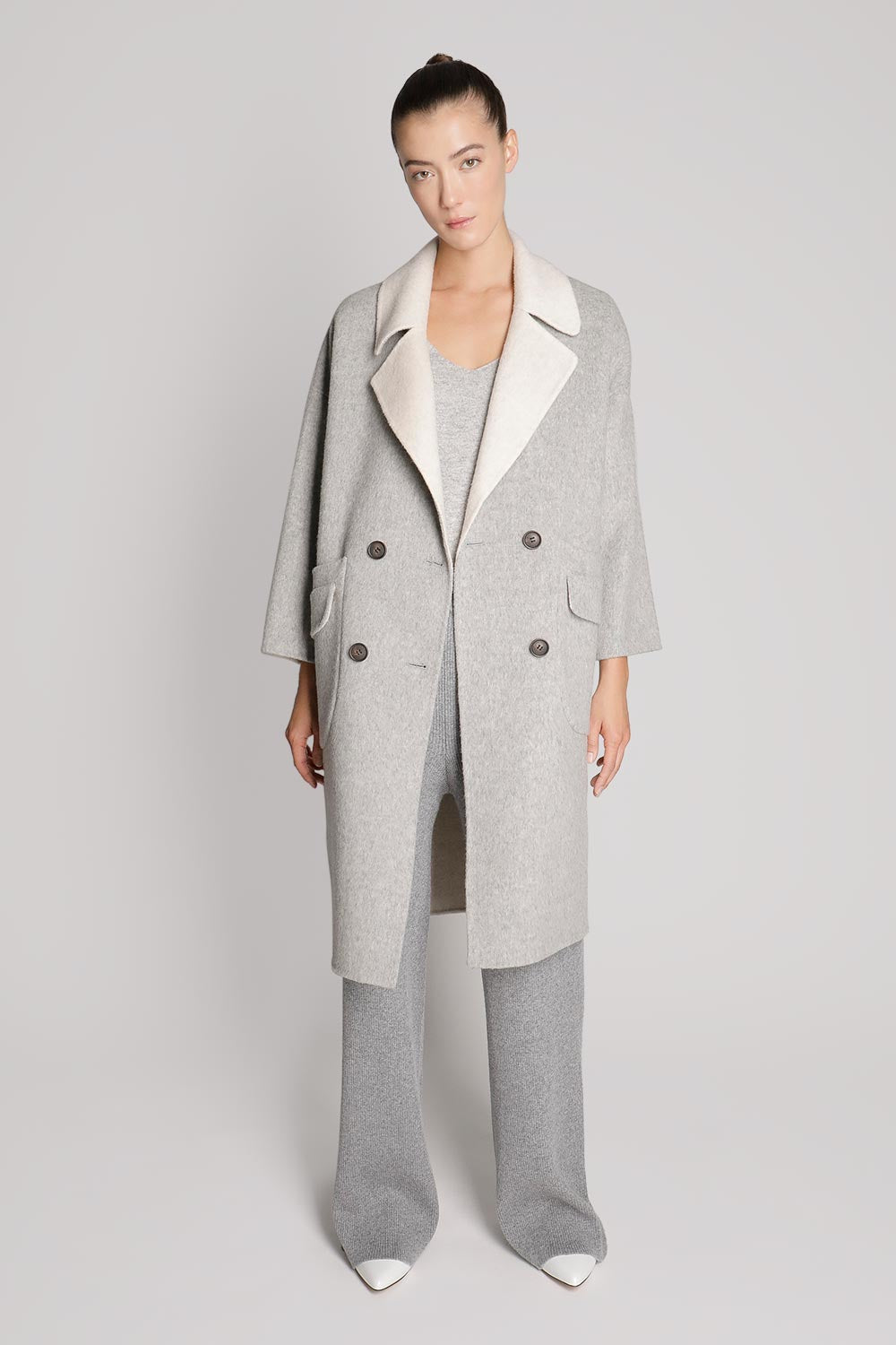 Double Breasted Two Tone Wool Coat