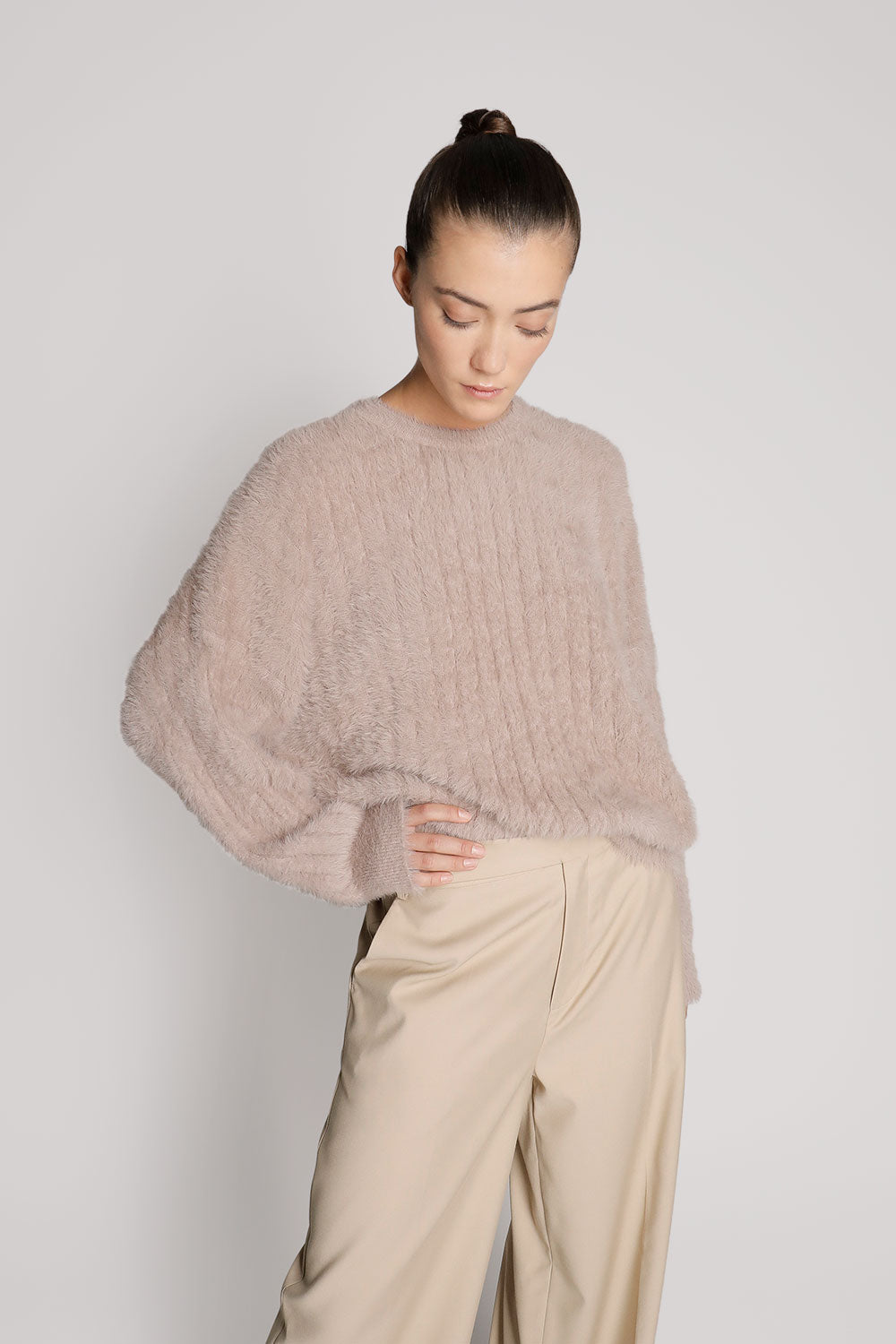 Furry Oversized Crop Sweater