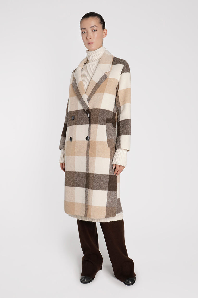 Checkered Wool Blend Coat