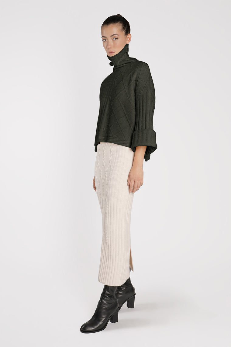Wool Blend Stretch Knit Crop Sweater