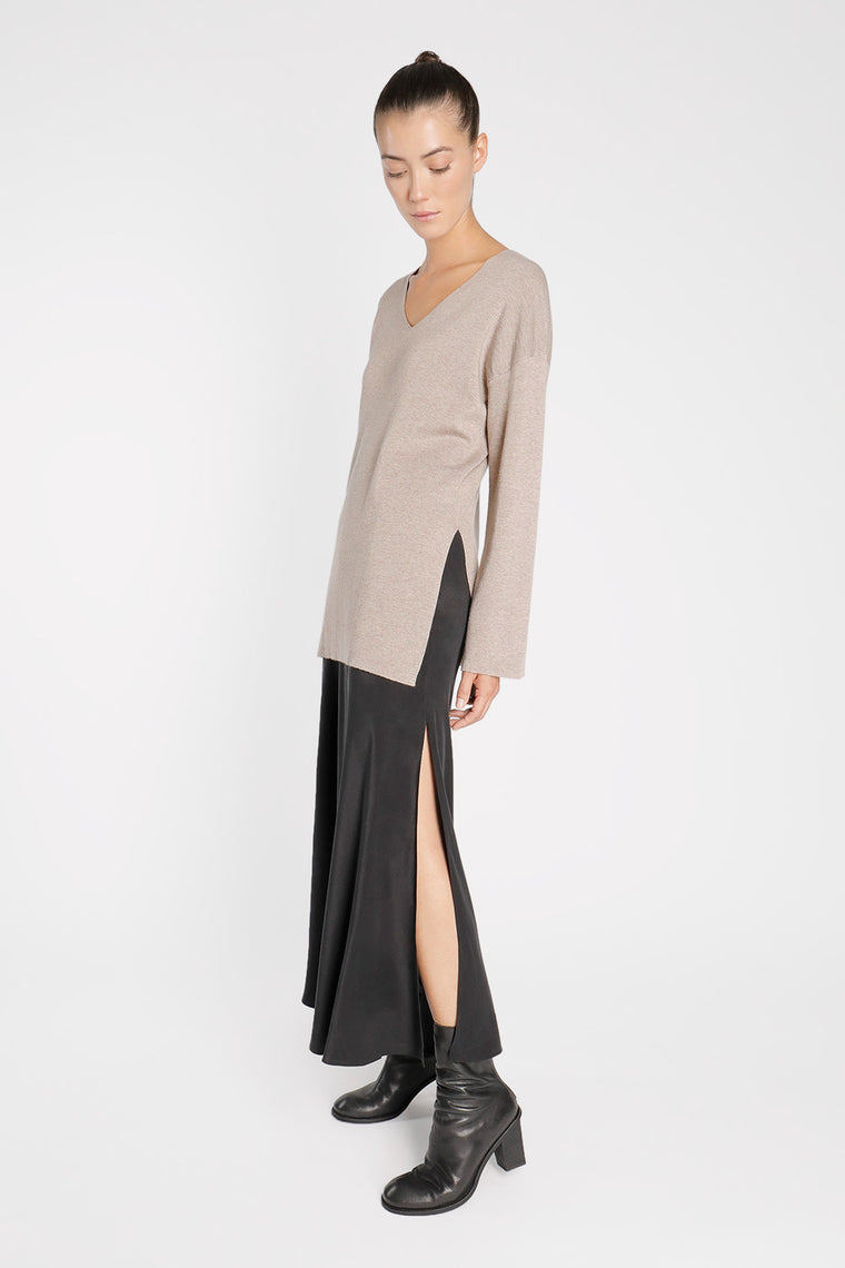 Side Slits Silk Skirt