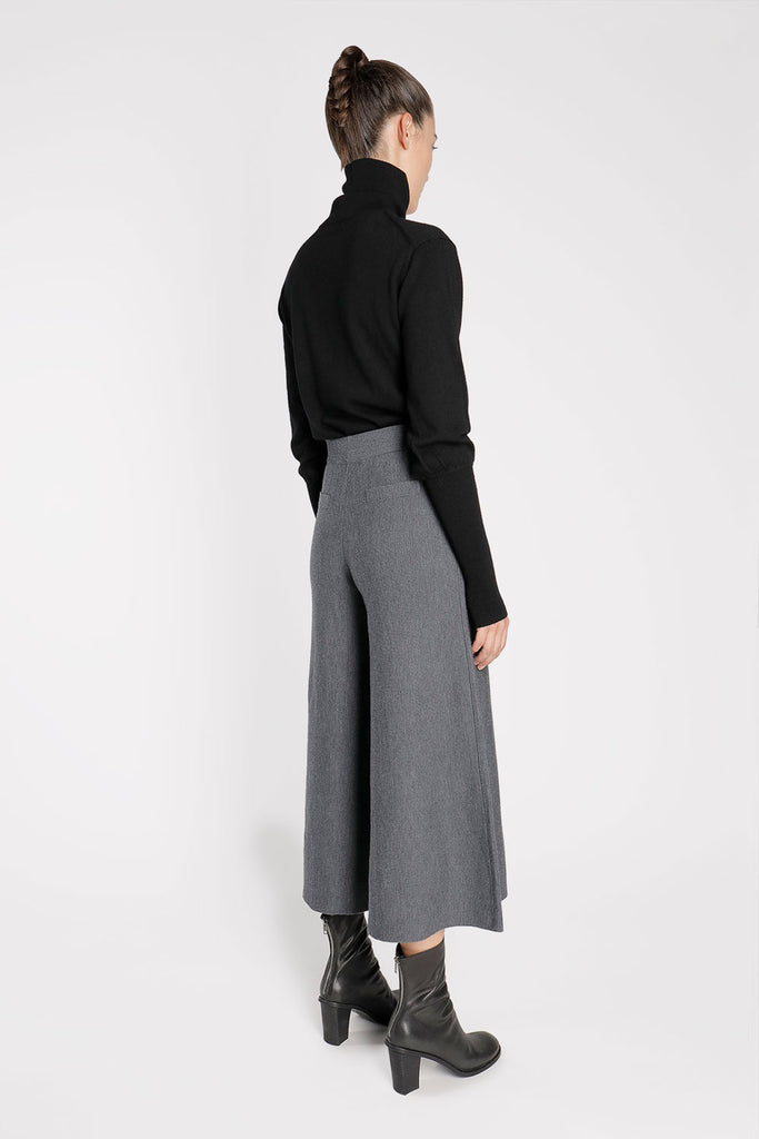 Wool Knit Wide Leg Pants