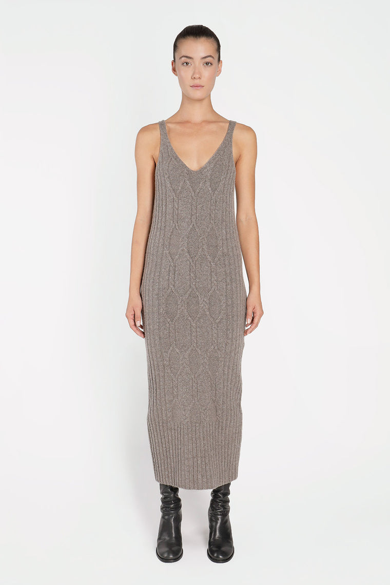 Wool Blend Stretch Knit Dress