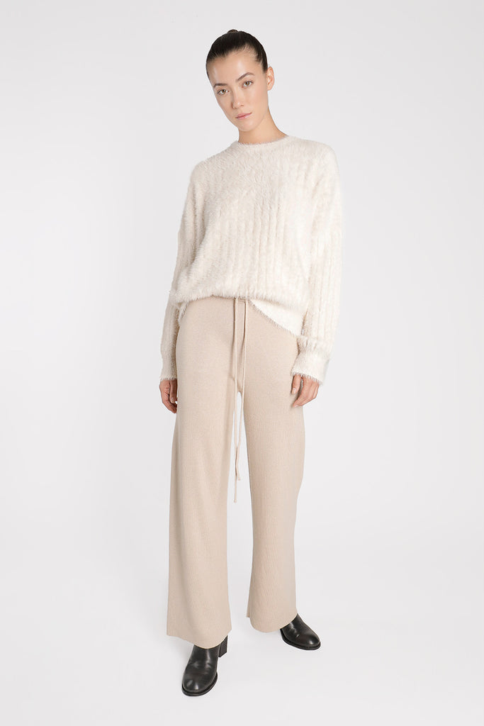Finely Ribbed Cashmere Leisure Pants