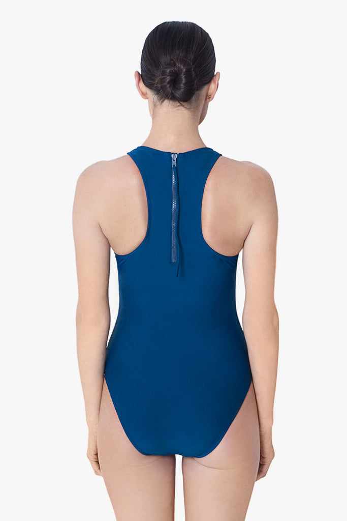 Sporty High Cut Neck Swimsuit