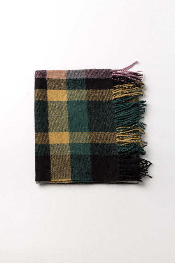 Colored Plaid Tassel Stole