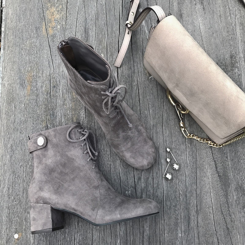 Suede Lace-Up Buckle Boots