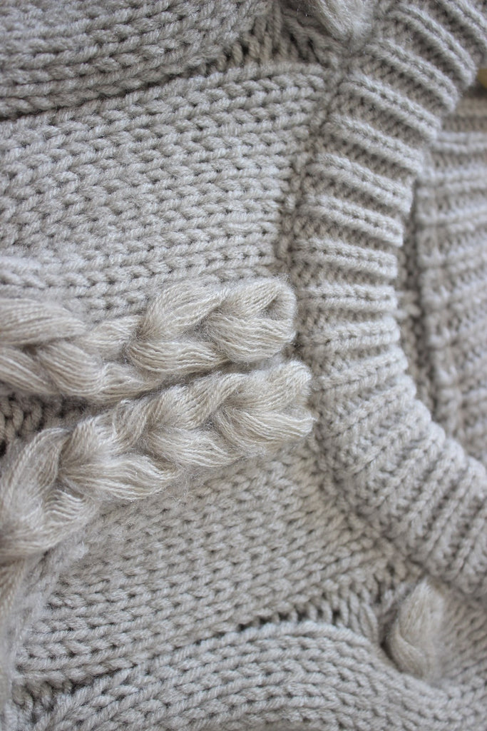 Chunky Braided Crop Knit Sweater