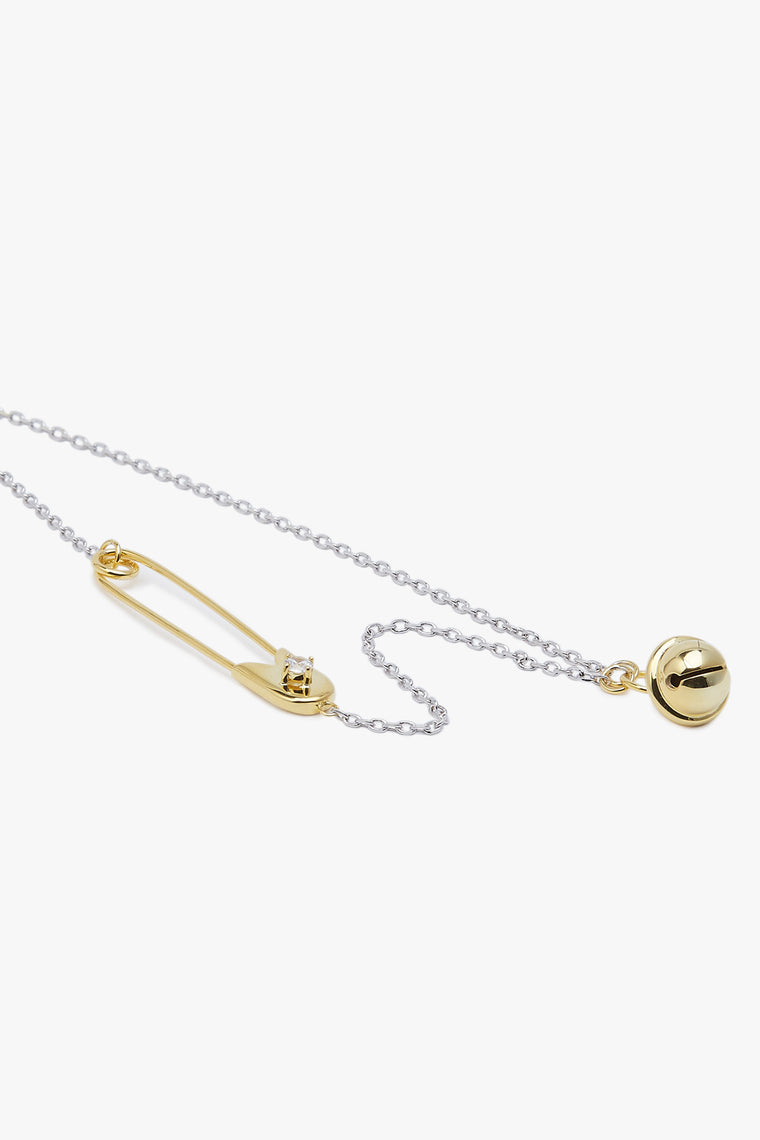 Embedded Crystal Pin and Bell Pendant Necklace