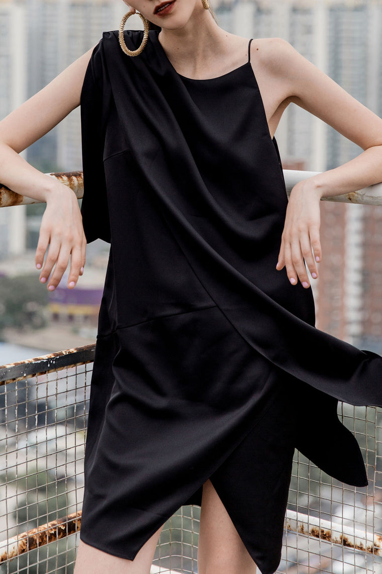 Shoulder Pleated Satin Dress
