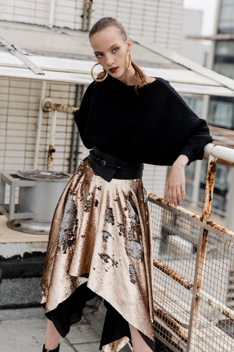 Sequin Ruffle Skirt