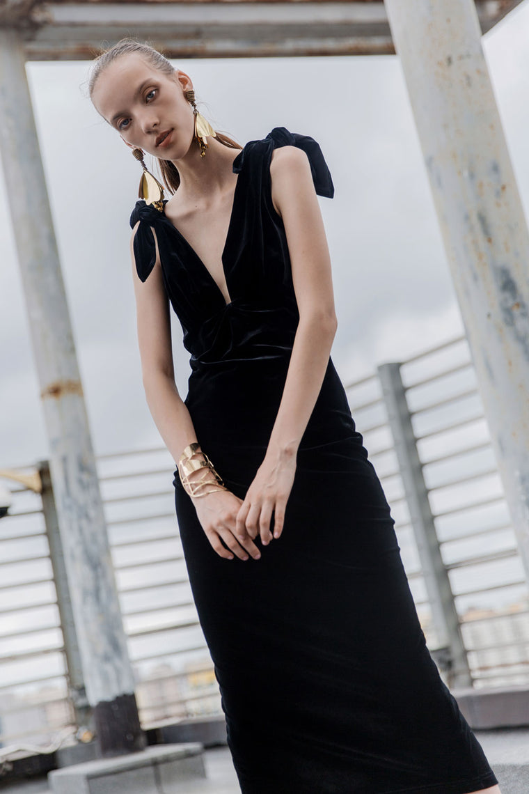 Tie Shoulder Velvet Dress