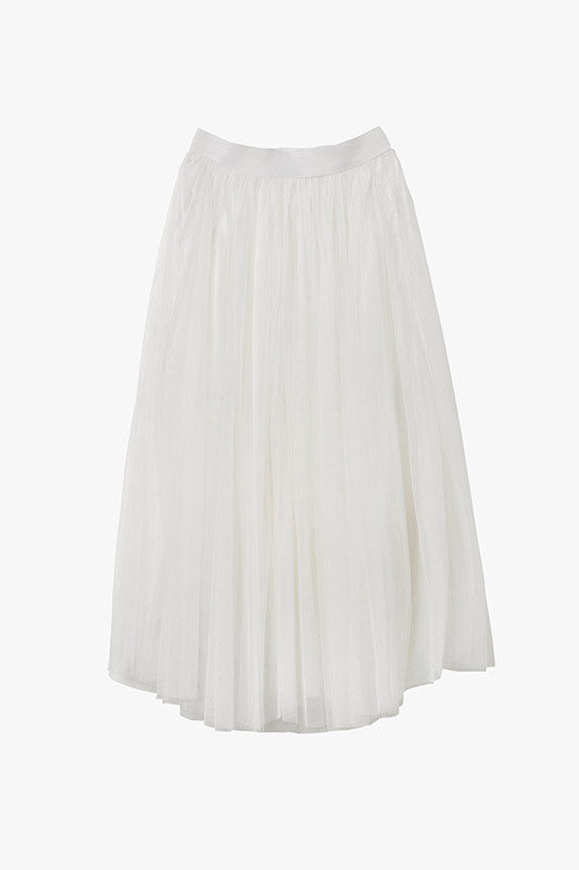 White Tulle Layered Midi Skirt