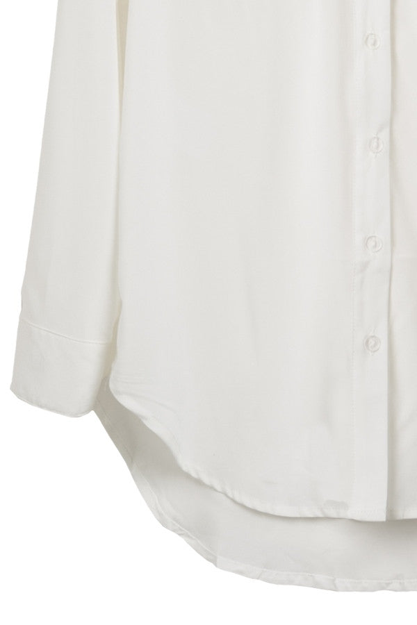 Button Front Silky Chiffon Blouse